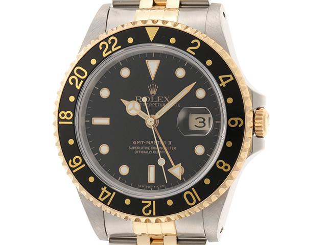 N番 1992年3月並行 ROLEX ロレックス 時計 メンズ オートマチック GMTマスターⅡ 16713 ブラック文字盤 イエローゴールド ステンレス トリチウム HK【472】
