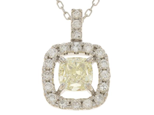 JEWELRY ノンブランドジュエリー 貴金属 ネックレス チェーン:PT850 トップ:PT900 全体の重さ:3.5g ダイヤモンド D1.055/0.34キャラット 【472】JH