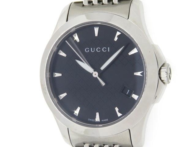 GUCCI グッチ Gタイムレス レディース 女性用腕時計 シルバー ブラック 黒文字盤 ステンレス 126.5 【474】