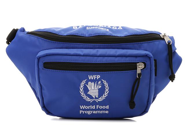 バレンシアガ ボディバッグ WFP ワールドフードプログラムコラボ ナイロン ブルー ブラック 539522【204】