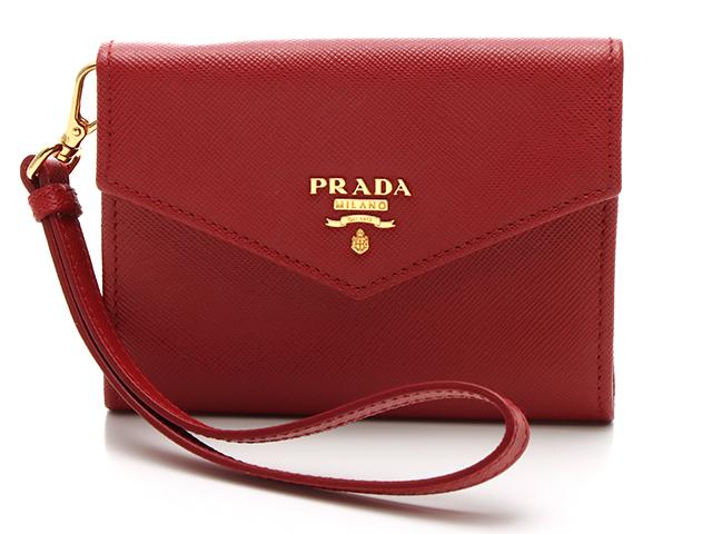 PRADA プラダ カードケース レッド サフィアーノ 1M1442 【437】2148103156229