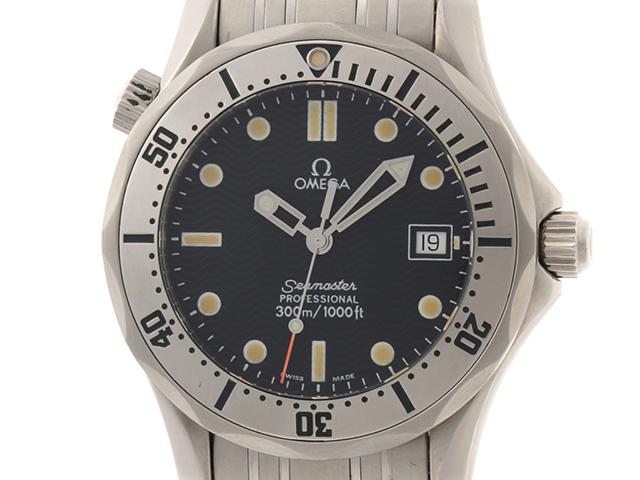 OMEGA オメガ 時計 シーマスター300m 時計 2562.80 クオーツ ネイビー SS ステンレススチール 【432】