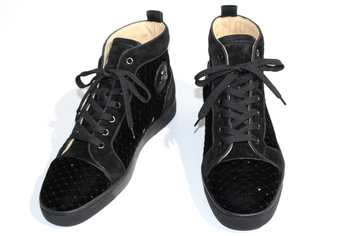 Christian Louboutin クリスチャンルブタン ハイカットスニーカー メンズ43  ブラック ベロア ラインストーン 2148103174643【200】