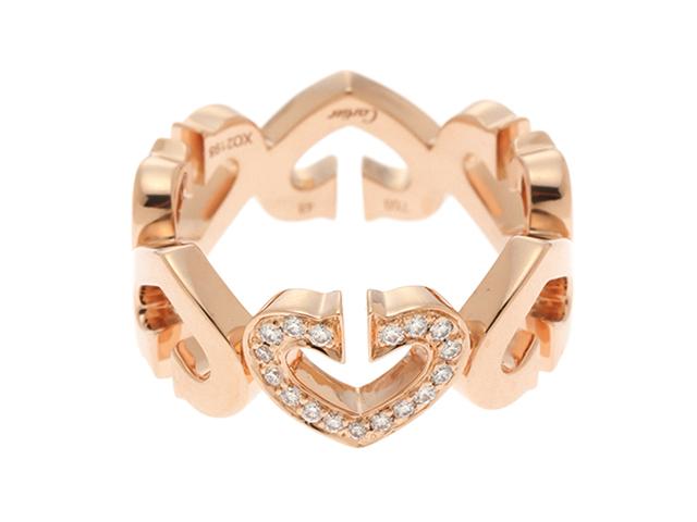 Cartier カルティエ リング 指輪 Cハートリング ピンクゴールド ダイヤモンド 6.6g 48号【430】2148103215032