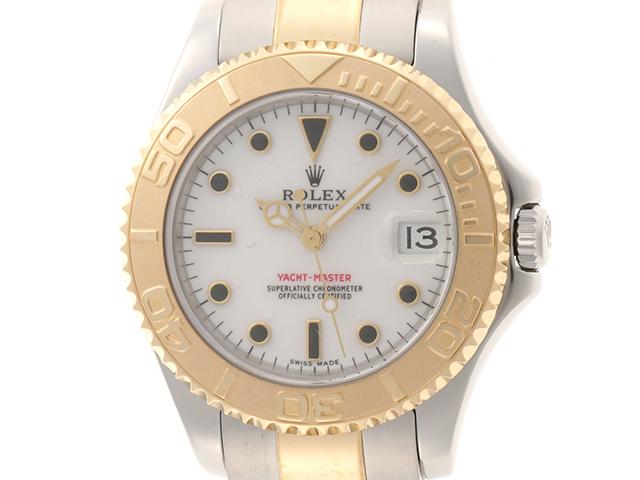 【A番】ROLEX 時計 ヨットマスター 168623 自動巻き 白文字盤 カレンダー機能 両回転ベゼル YG/SS 男女兼用サイズ【431】