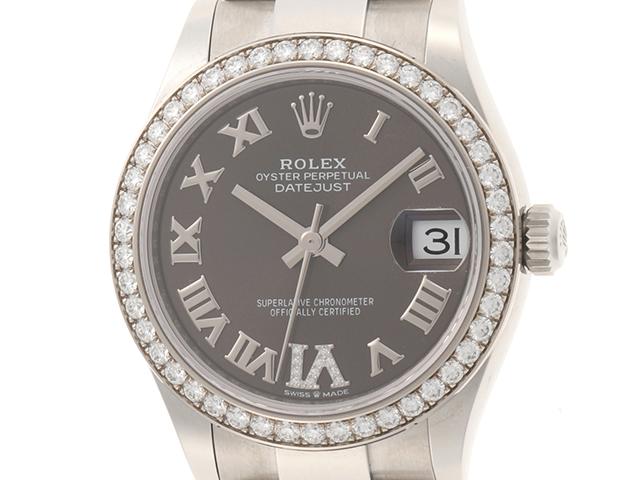 ROLEX 時計 デイトジャスト 278384RBR オートマチック  グレー文字盤 カレンダー機能 ダイヤベゼル ステンレススチールSS ボーイズサイズ 男女兼用【430】