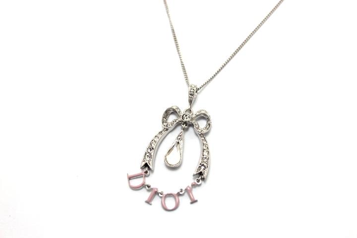 Dior ディオール ロゴ リボン ネックレス ピンク SS ラインストーン 【460】