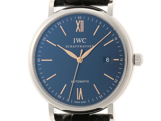 IWC ポートフィノ IW356523 オートマチック ブルー文字盤 ステンレス/革ベルト 生活防水  TM2【472】