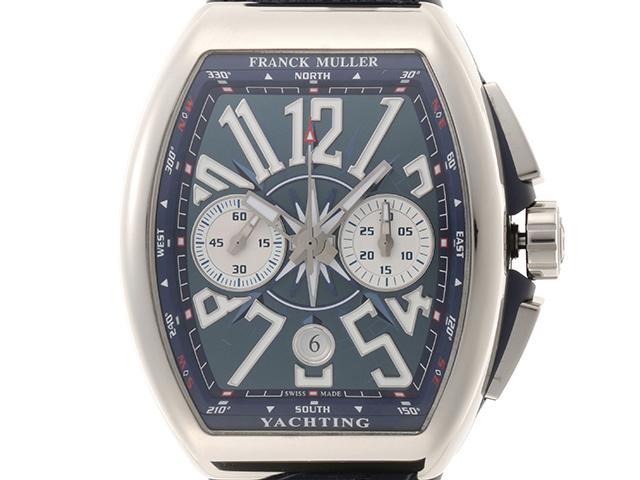 FRANCK MULLER フランクミュラー ヴァンガード ヨッティングクロノ V45CCDT SS/ブルーファブリック/ラバー ブルー文字盤 男性用自動巻時計【473】
