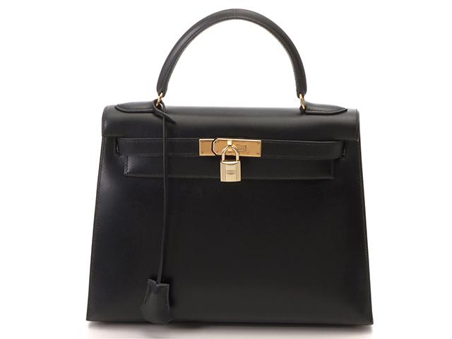 HERMES エルメス ハンドバッグ ケリー28 旧型 ブラック ゴールド金具 ボックスカーフ 外縫い【430】2148103320934