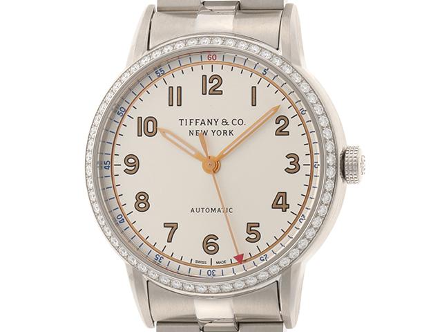 TIFFANY&CO ティファニー CT60 34668353 自動巻き シルバーアラビアン文字盤 ダイヤベゼル 34mm 【435】