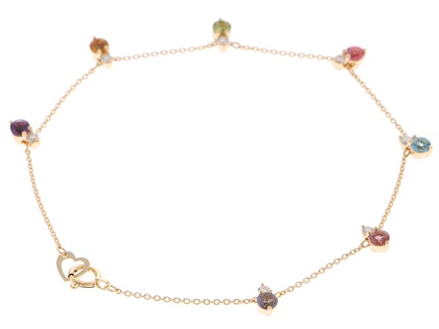 Ponte Vecchio ポンテヴェキオ 貴金属・宝石 ミックスブレスレット K18イエローゴールド ダイヤモンド0.16カラット 2.1g 【473】