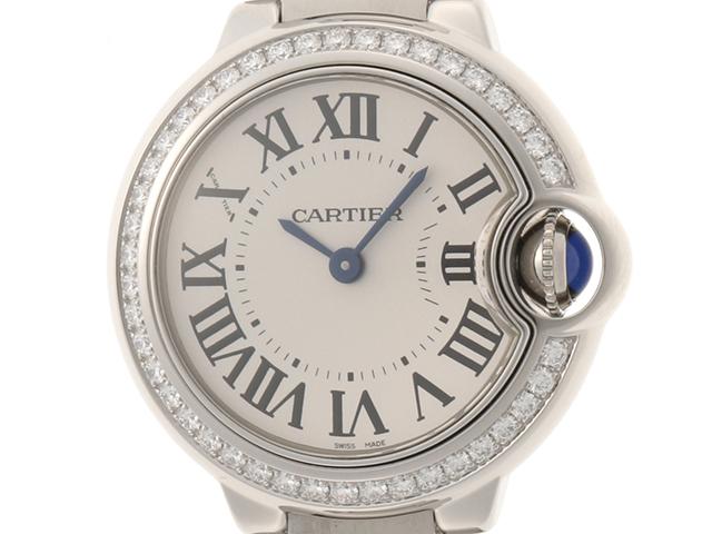 Cartier カルティエ バロンブルー28mm ダイヤベゼル W4BB0015 シルバーローマ文字盤 SS ステンレス クオーツ 現行モデル レディースウォッチ 時計【204】