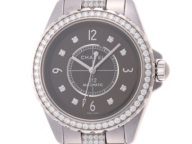 CHANEL シャネル 時計  J12 クロマティック ユニセックス H3106 自動巻き時計 シルバー グレー文字盤 セラミック ダイヤモンド 2148103335891【430】