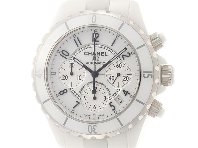 CHANEL シャネル J12 クロノグラフ H1007 ホワイト セラミック メンズ 自動巻き 【432】2148103342448