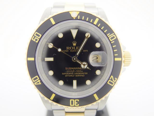 ROLEX ロレックス 腕時計 サブマリーナ 16613 メンズ オートマチック 黒文字盤 YG×SS F番 【435】
