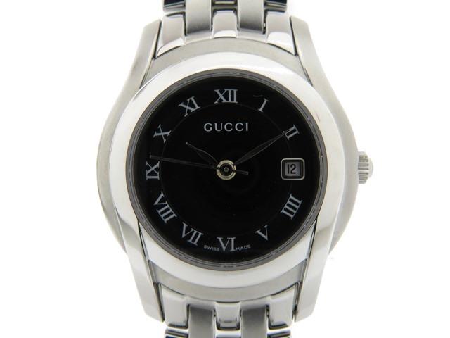 GUCCI グッチ 女性用腕時計 レディース 5500L ステンレス ブラック文字盤 クオーツ 【474】