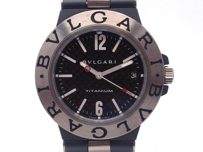 BVLGARI ブルガリ 時計 ディアゴノ TI38TA 自動巻き チタン ラバー ブラック文字盤 男性用 【432】