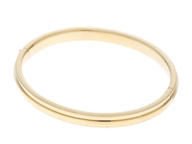 TIFFANY&CO ティファニー TTWOヒンジ  ブレスレット  バングル ラージサイズ  イエローゴールド ダイヤモンド【472】SS