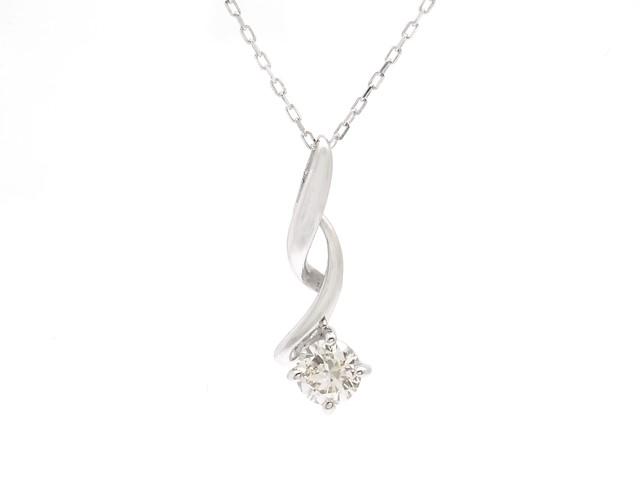 JEWELRY 貴金属・宝石 ダイヤネックレス K18WG ホワイトゴールド D0.15ct 0.9g 1粒ダイヤ 【200】