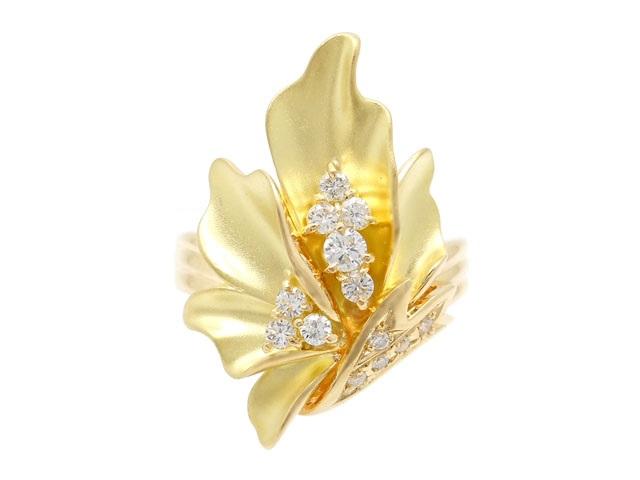 JEWELRY 貴金属・宝石 ダイヤリング K18 ゴールド D0.27ct 7.1g 14号 植物 2143500220771 【200】