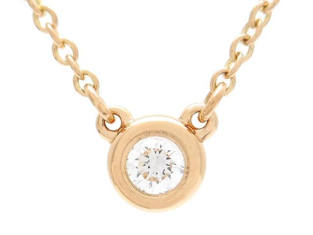 TIFFANY&CO ティファニー 貴金属・宝石 バイザヤードネックレス ピンクゴールド K18PG ダイヤモンド 1PD 2.2g 【200】