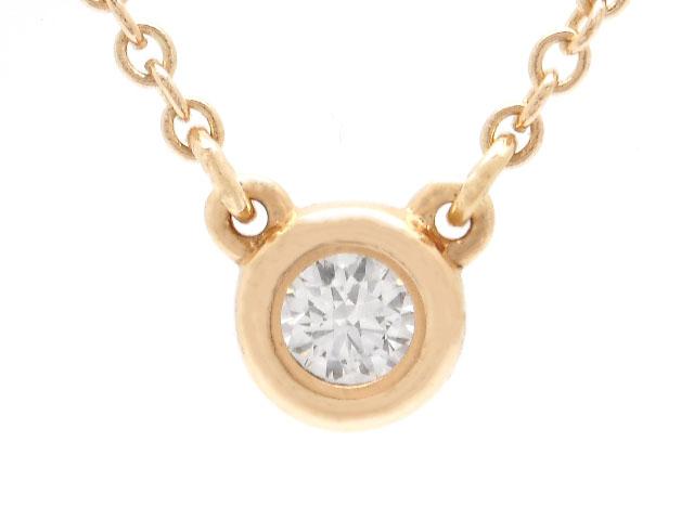 TIFFANY&CO ティファニー 貴金属・宝石 バイザヤードネックレス ダイヤネックレス PG ピンクゴールド 1Pダイヤ 2.1g 【200】
