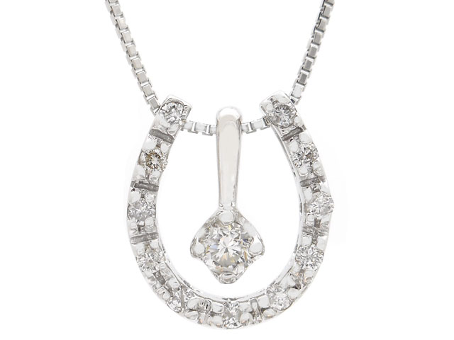 JEWELRY ノンブランドジュエリー ダイヤネックレス K14WG ホワイトゴールド ダイヤモンド D0.19 2.5g(2141100419427)【200】