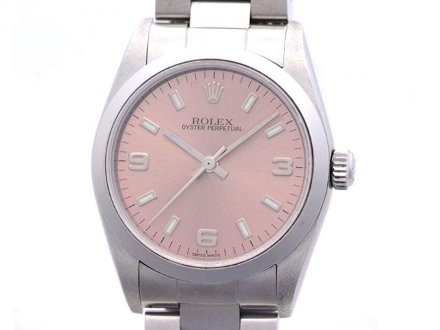 Y番 2002年製 ROLEX ロレックス オイスターパーペチュアル 77080 ステンレス ピンク369文字盤 ボーイズサイズ 自動巻時計【473】
