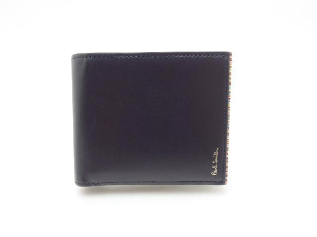 Paul Smith ポールスミス 二つ折り財布 ブラック レザー 【435】
