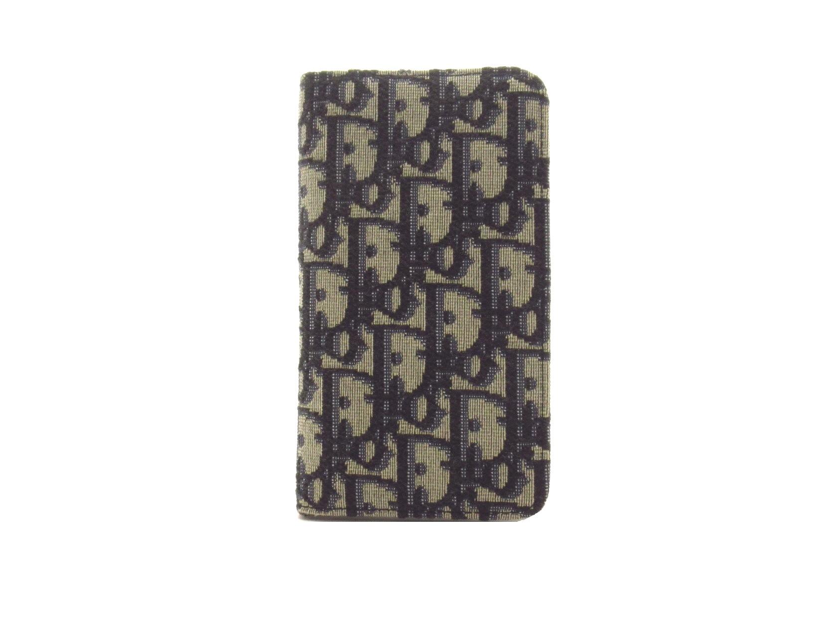 Dior ディオール オブリーク iPhoneX / XSケース グレー / ネイビー キャンバス スマホケース 2143200377874 【432】