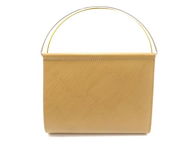 Cartier カルティエ トリニティハンドルウォレット  2つ折り財布 ベージュ カーフ【430】 2148103158742