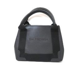 バレンシアガ ハンドバッグ 2wayショルダー ネイビーカバXS パンチングロゴ ブラック レザー 【204】