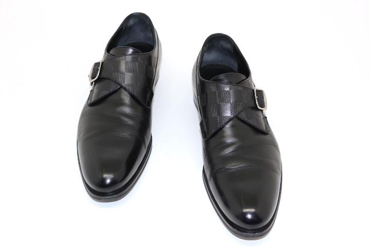 LOUIS VUITTON ルイ・ヴィトン ローファー 革靴 メンズ6  ブラック レザー ダミエ【432】