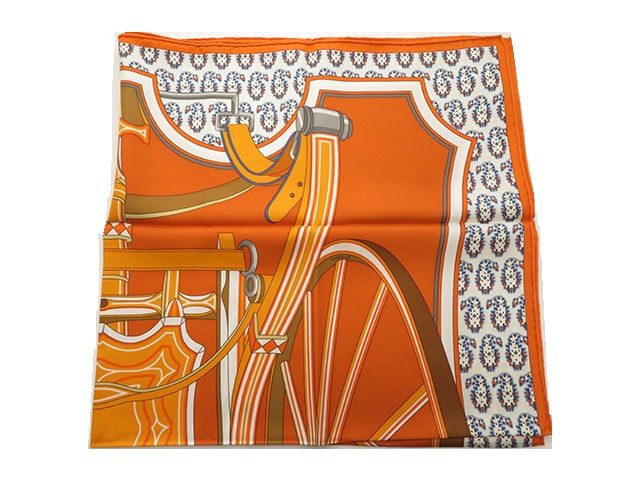 HERMES エルメス スカーフ カレ90 オレンジ/ホワイト シルク 四輪馬車の車輪【430】2143300153453