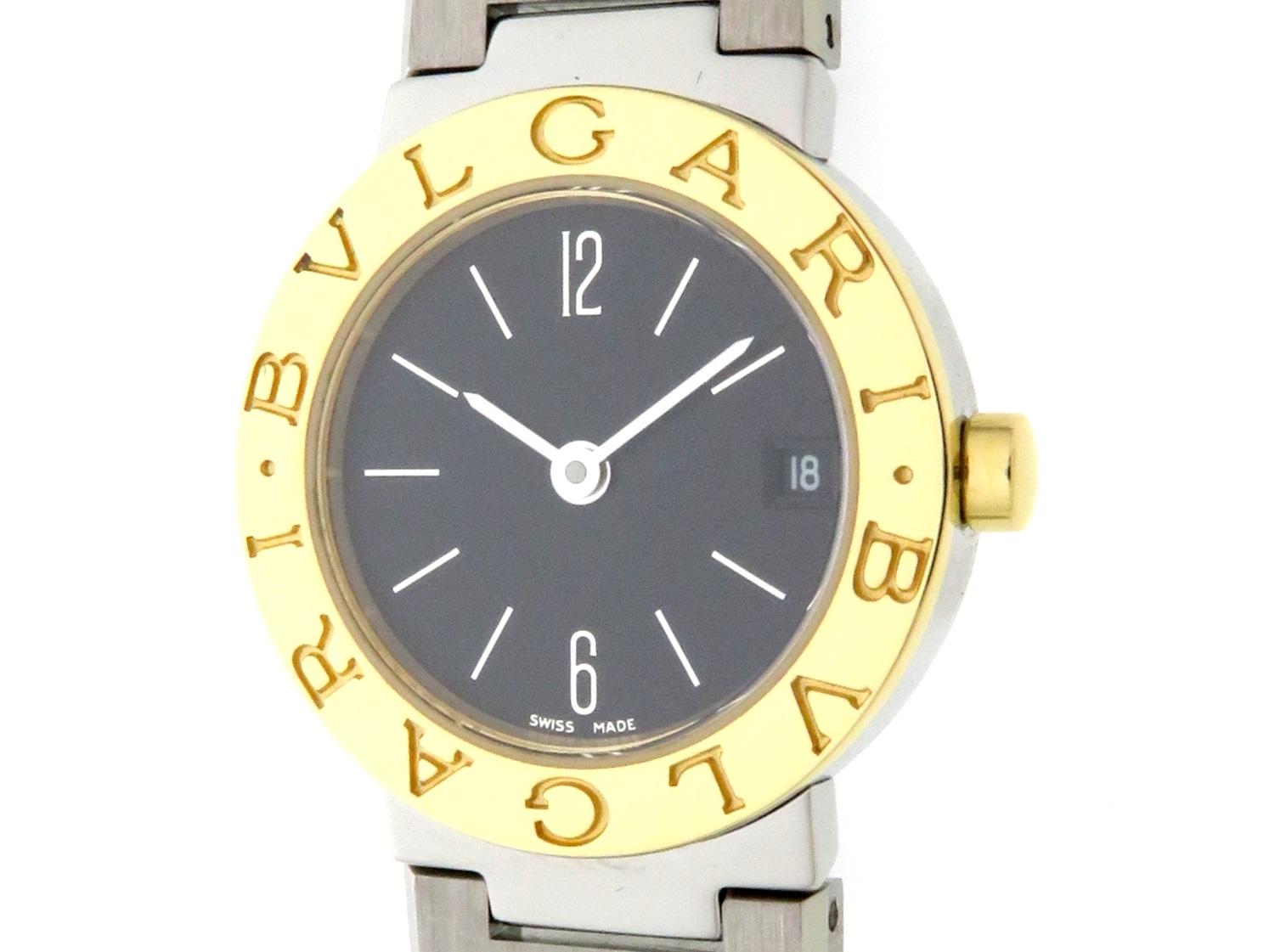 BVLGARI  ブルガリ 時計 ブルガリ ブルガリ BB23SG  クオーツ  黒文字盤 YG/SS 女性用時計【431】