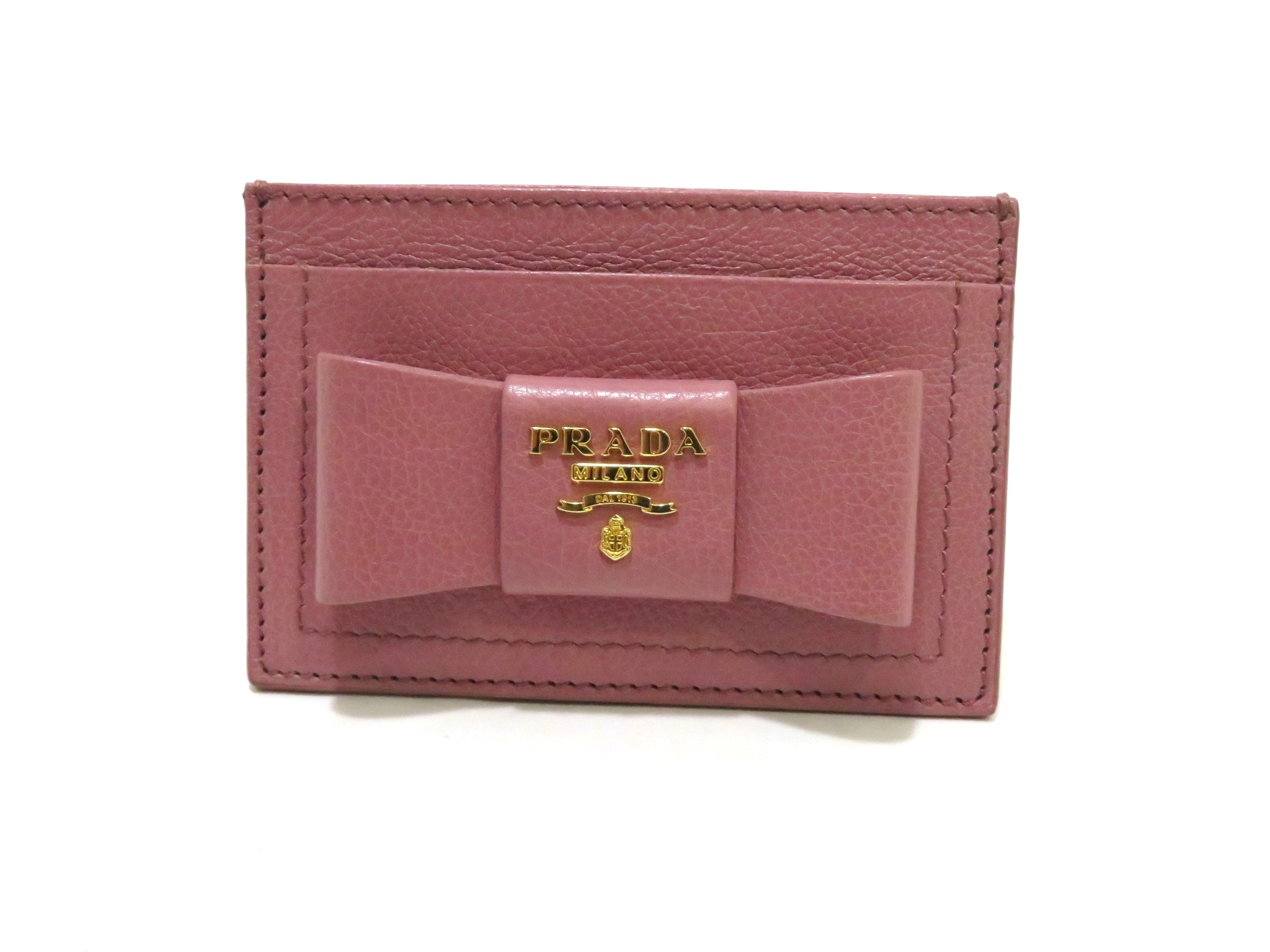 PRADA プラダ カードケース リボンモチーフ ピンク カーフ 1MC208【472】