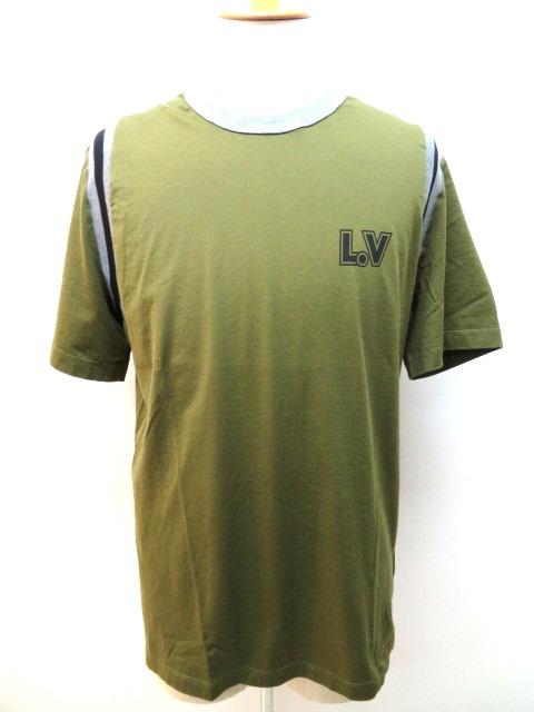 LOUIS VUITTON ルイヴィトン Tシャツ メンズ XL カーキ グレー コットン 【432】