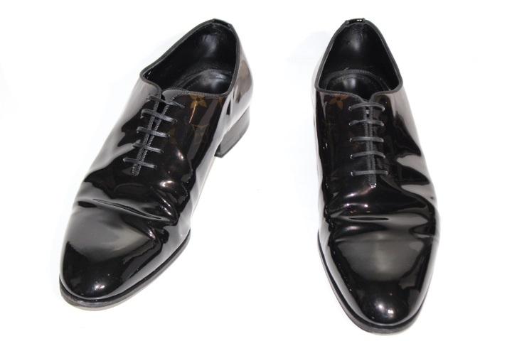LOUIS VUITTO ルイヴィトン 革靴 メンズ8 約26.5cm ブラック ブラウン パテント モノグラム (2148103302992)【200】
