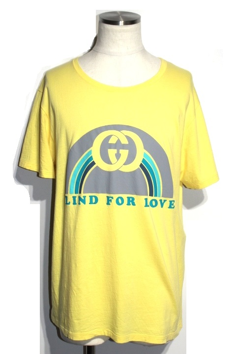 GUCCI グッチ メンズ Tシャツ L イエロー コットン 2148103281006【432】