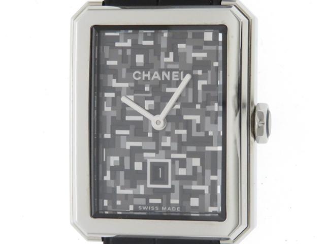 CHANEL シャネル 時計 ボーイフレンド H6128 SS レザー グレー ブラック ツイード 限定1000本【430】
