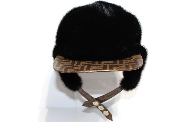 FENDI フェンディ キャップ 帽子 Sサイズ ブラック ミンク ポリエステル 2019年(2148103316982)【200】