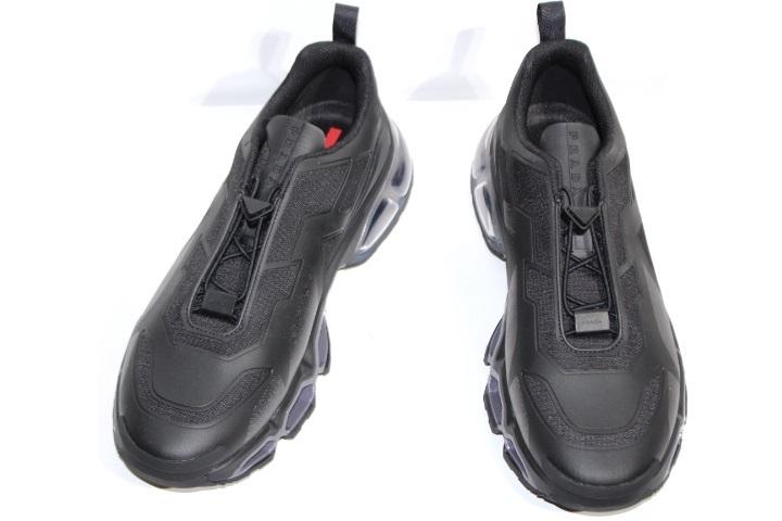 PRADA プラダ コリジョン スニーカー メンズ10 約29cm ブラック ファブリック 参考定価¥135,300 4E3570 (2148103335051)【200】