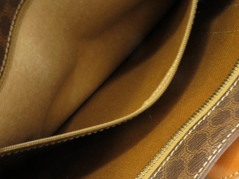 CELINE  セリーヌ ショルダートートバック  マカダム柄 PVC×レザー  ブラウン系 【472】AH image number 15