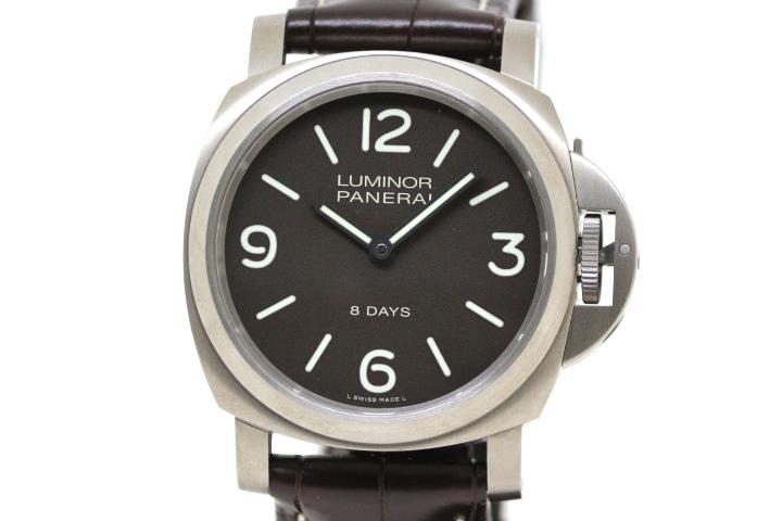 PANERAI パネライ ルミノール ベース  8days PAM00562 U番 メンズ チタニオ×革ベルト シースルーバック 手巻時計 (2147100341102)【200】