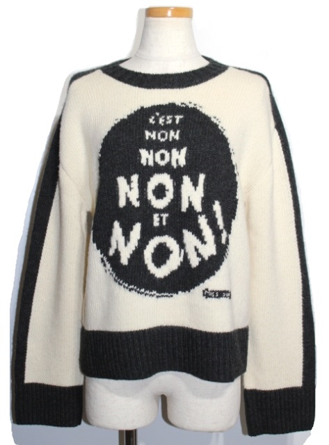 Dior ディオール 長袖ニット レディース36 ホワイト ブラック ウール カシミヤ 854S42AM019 (2148103293962)【200】