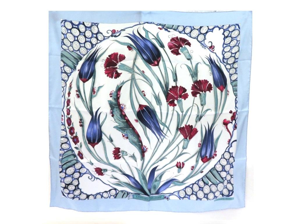 HERMES エルメス カレ90 Ceramique ottomane ライトブルー シルク 衣料品 TM2【472】