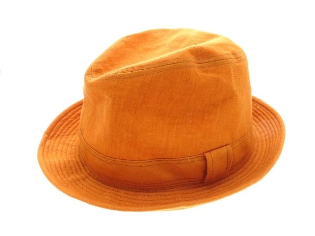 HERMES エルメス 帽子 リネンハット レディース 麻(リネン) オレンジ 58サイズ 2143400146393【430】
