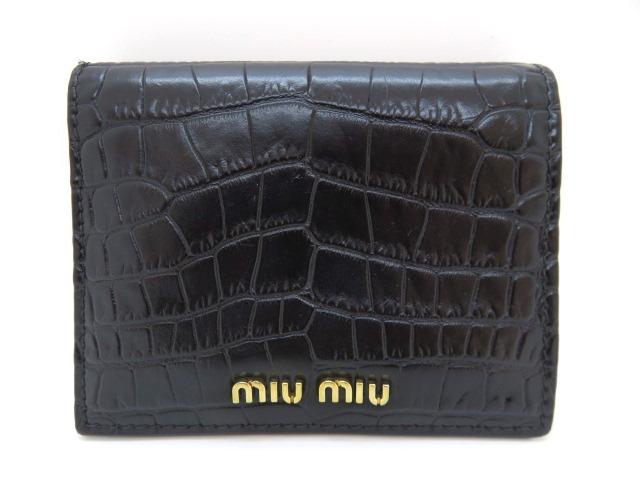 miumiu ミュウミュウ 小物 サイフ プリントレザー 財布 二つ折り財布 パテントカーフレザー ブラック【473】