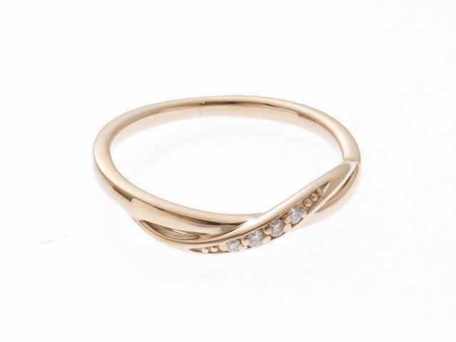 4℃  ヨンドシー ジュエリー 貴金属・宝石   リング  ピンクゴールド K10 ダイヤモンド 8号【430】2141300291564